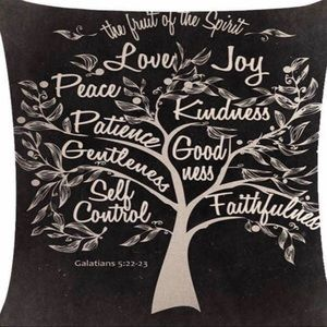 Pillow Cover-New- Christian Fruits of the Spirit
